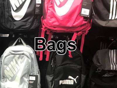 Sports bags and backpacks from Nike, Adidas, Asics, and school bags