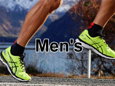 mens running shoes from Asics, Nike, Brooks, and Adidas
