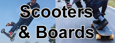 scooters, skateboards